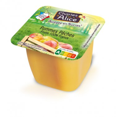 Specialite pomme-peche allegee en coupelle 100 g CHARLES ET ALICE - 0020341 - EpiSaveurs - Grossiste alimentaire